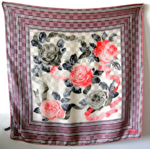 Ferré pink rose shawl Vintage Silk Scarf Women accessories