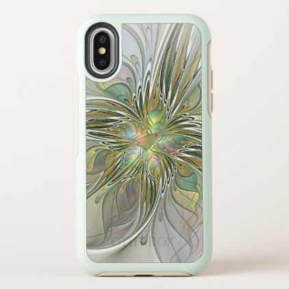 Floral Fantasy Modern Fractal Art Flower With Gold iPhone X Case - diy cyo personalize design idea new special