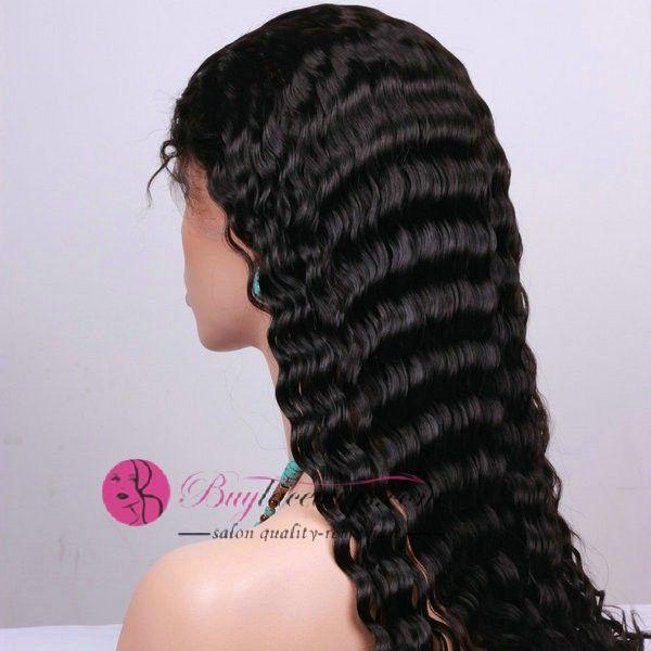 24 Inch #1 Deep Wave Black U Part Wigs