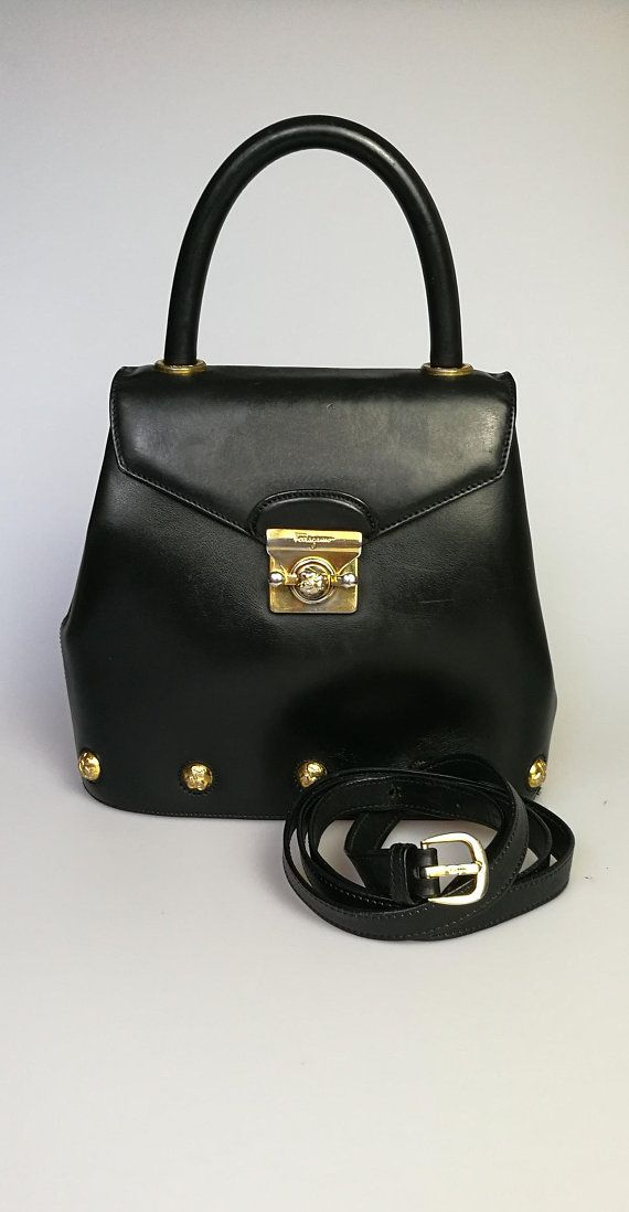 25b412c511 SALVATORE FERRAGAMO Black Leather Shoe Charm Vintage Shoulder Bag   Handbag    High Heels Gold Motif