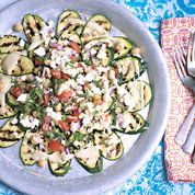Courgette carpaccio with chickpea salsa | Easy vegetarian ideas