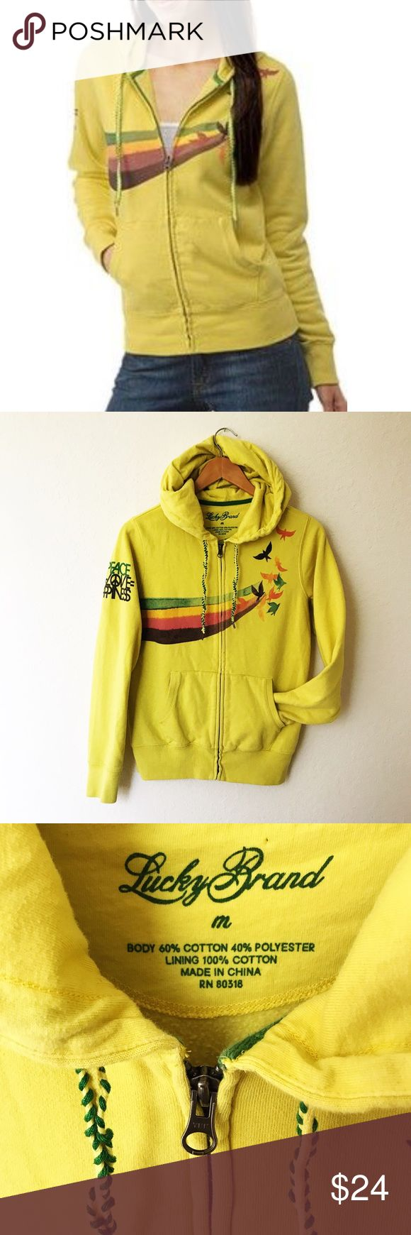 "Lucky Brand Yellow Zip Up Hoodie Sweater Very good preowned condition, no rips, stains or holes and from smoke/pet free home. Cute yellow zip-up hoodie with orange, green, yellow and brown bird Print on the front and ""peace love happiness"" written on one sleeve. Two front pockets and pull string hoodie. Cute sweater for any season. Lucky Brand Sweaters"