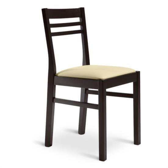 Sedia in legno con sedile in ecopelle