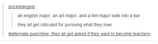 I don't even know where to put this because it's tumblr, but as a Theatre Major, it's not really funny, just accurate.