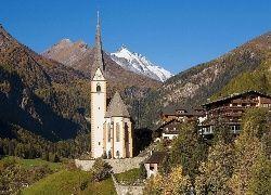 Austria, Góry, Kościół, Domy, Drzewa