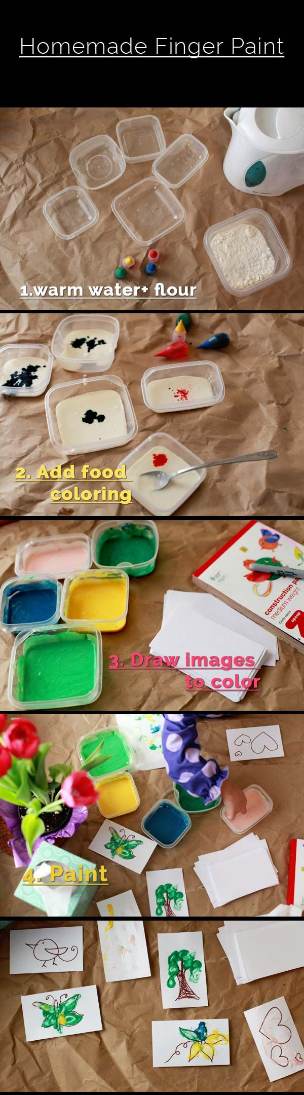 {Make it with your kids Monday #8: Homemade Finger Paints} | Smiling Colors