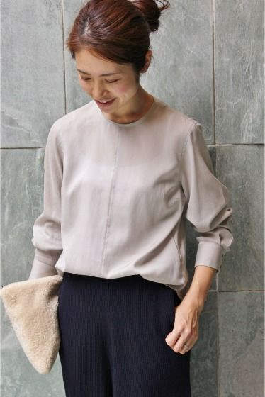 Grey blouse, dark blue pants & a lovely clutch!