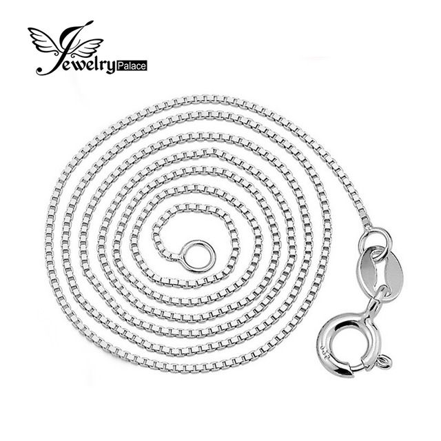 On Sale $5.23, Buy Jewelrypalace New Italian Box Chain Necklace Pure 925 Solid Sterling Silver 0.8 1mm 40cm 45 cm 2016 Fine Jewelry For Women