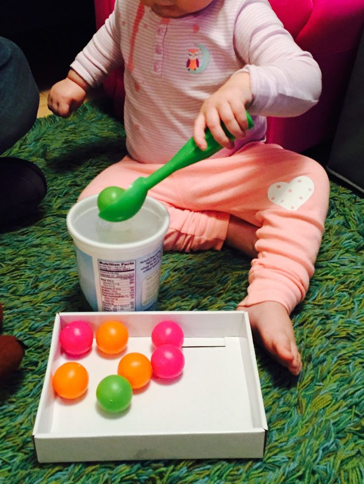 Fine Motor: Transferring with balls, a container, and an ice cream scoop