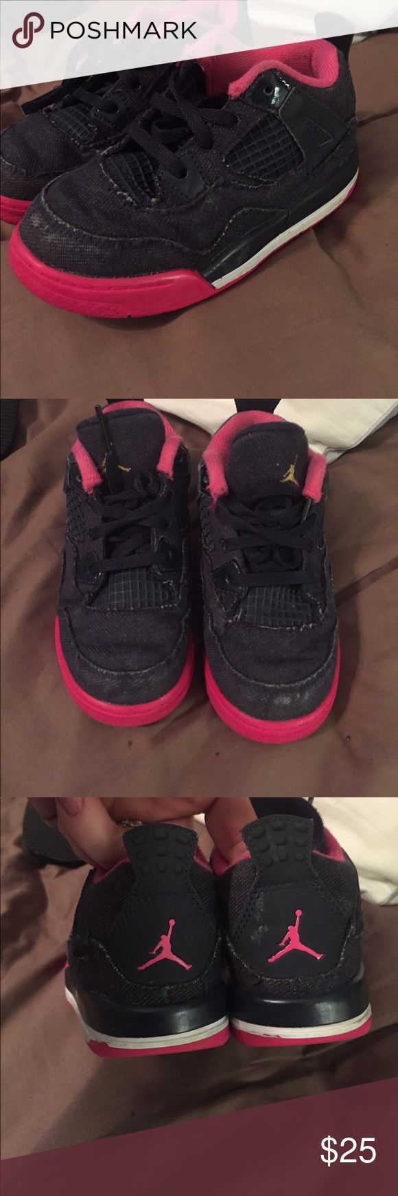 Lil girls Nike Air Jordan black/pink 9C cute Cute lil pair of Nike hi tops for baby girl size 9 C. They do shows signs of wear but have plenty of life left. Nike Shoes Sneakers