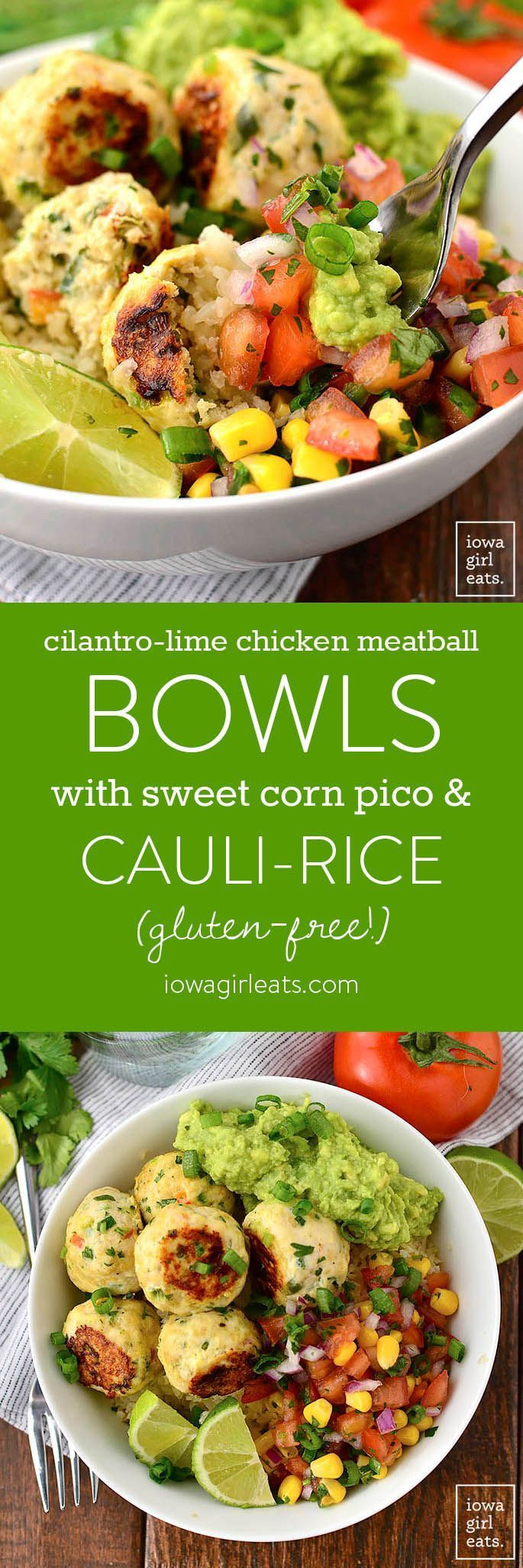 Cilantro-Lime Chicken Meatball Bowls with Sweet Corn Pico de Gallo and Cauli-Rice are a fresh and flavorful gluten-free lunch or dinner recipe. Prep once and enjoy all week long! | iowagirleats.com #glutenfree