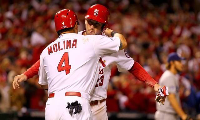 St Louis Cardinals Yadier Molina and David Freese  vs LA Dodgers