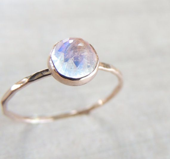 Hexagon Cut Moonstone Ring With Band