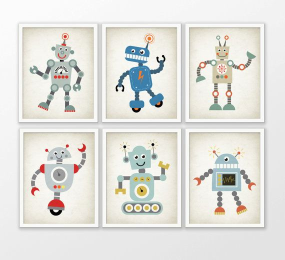 Robot Nursery Decor Set Of 6 Prints Funky by FineArtGiftShop