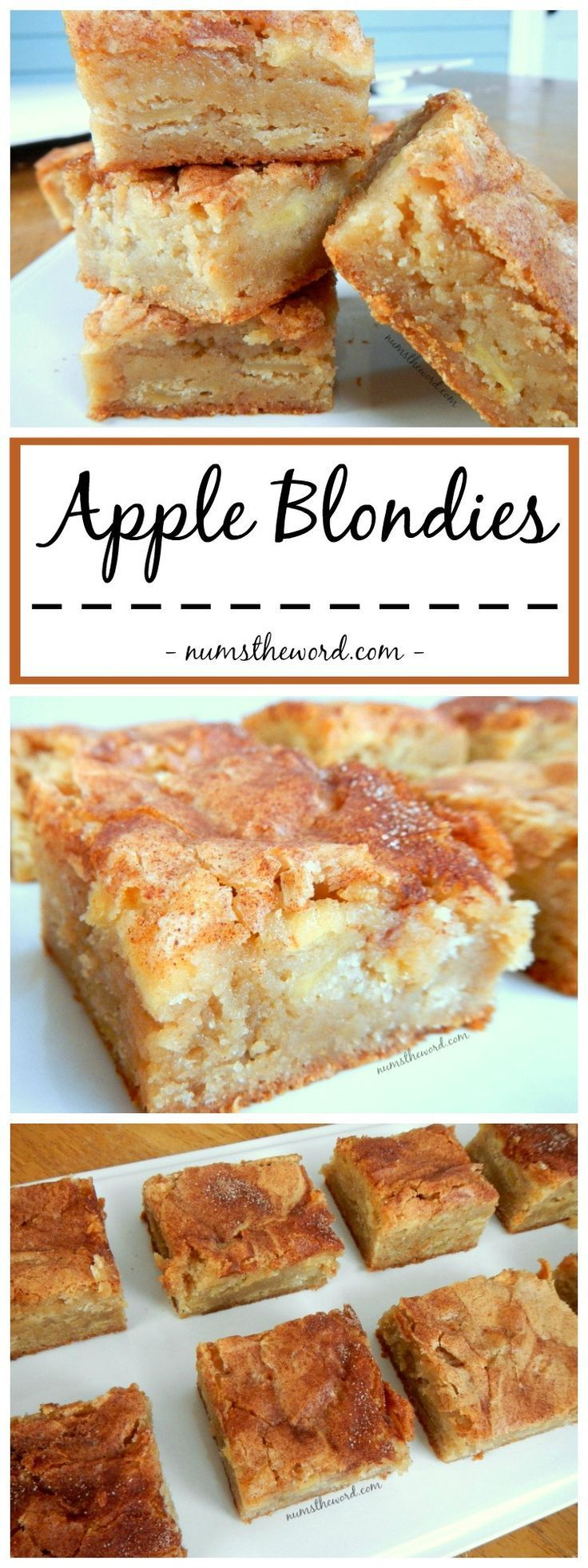 *VIDEO* Apple Blondies - A perfect Autumn dessert that mixes apple pie and blondies. Yummy Apple Blondies with a large scoop of vanilla ice cream is the perfect dessert or skip the ice cream and make it a snack! #dessert #bar #brownies #blondies #appleblondies #applebrownies #autumn #snackcake #recipe #numstehword #video