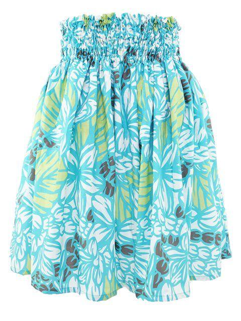 Plumeria&Mokihana Lei Turquois&Brown Poly Cotton Single Pau Skirt