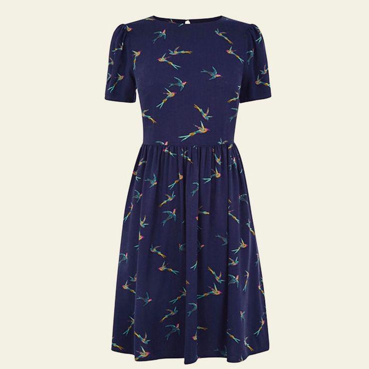 Ex Oasis Navy Swallow dress - £18.95 under HALF the RRP PRICE at www.chameleonclothinguk.co.uk