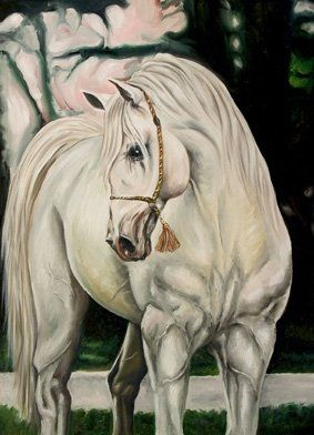 One of my paints: White Arabian Horse. Painted as a replica for an original one by a special order. Oil on Canvas. Doha 2002.