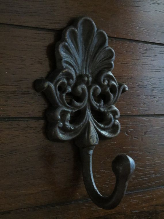 Shabby Chic Wall Hook/ Cast Iron Hook /Metal Wall Hook /Bathroom hook / Chocolate Brown Wall Hook/Nursery/Cottage Country Style