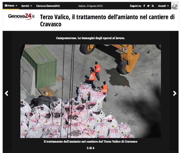 August 2015, workers of #TerzoValico (#TAV - Hight Capacity Trains) without protection near open bags of debris containing #asbestos. #Safety on a #COCIV building site in areas known to be rich in #ophiolites.