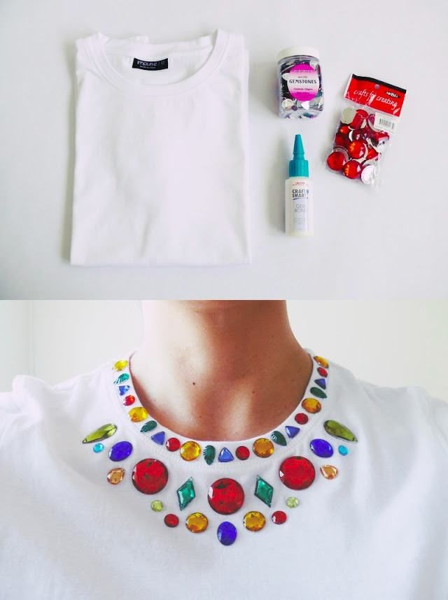 DIY your Christmas gifts this year with GLAMULET. they are 100% compatible with Pandora bracelets. Ingeniosa camiseta con gemas - and-other-things.com - DIY Gem Embellished Shirt