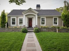 Benjamin Moore Revere Pewter with Benjamin Moore White Dove. Exterior paint colors  Northstar Builders, Inc