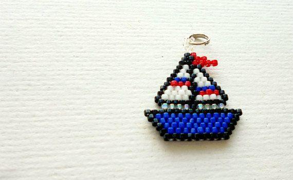 Bead Woven Sailboat Charm or Pendant, Brick Stitch