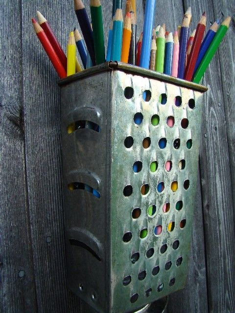 Upcycled Cheese Grater Pencil Holder idea. This would be a great wooden spoon holder in the kitchen.