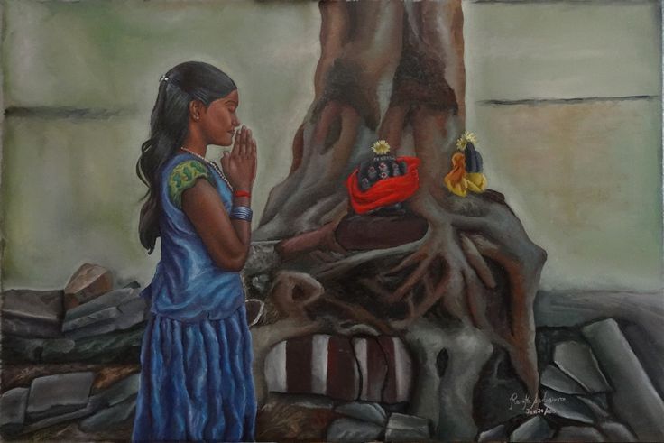 A SMALL GIRLS SINCERE PRAYER, 36 & 24 Inches, Oil on Canvas, Sweet little girl and she has been praying for a while. What is she praying about? Probably her studies or for her parents? In India, there are several such trees and several such Gods where you can pray. Any tree can be made a special spiritual one like this one