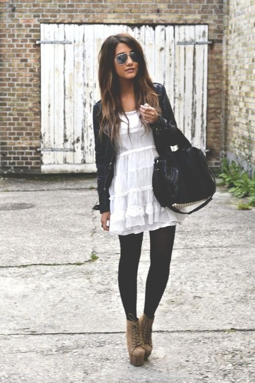 Summer dress and black tights: Summer Dresses, Fashion, Style, Dream Closet, Fall Outfits, White Dress, Leather Jackets, Black Tights, Fall Winter