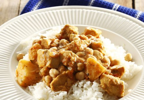 Chicken, potato and chickpea curry with basmati rice