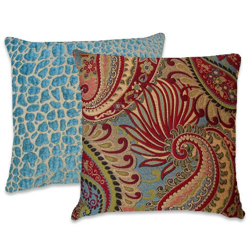 Turquoise Red Pillow--18x18 or 20x20 or 22x22 PaisleyThrow Pillow- Flowers--Red, Turquoise, Gold on Etsy, $49.00