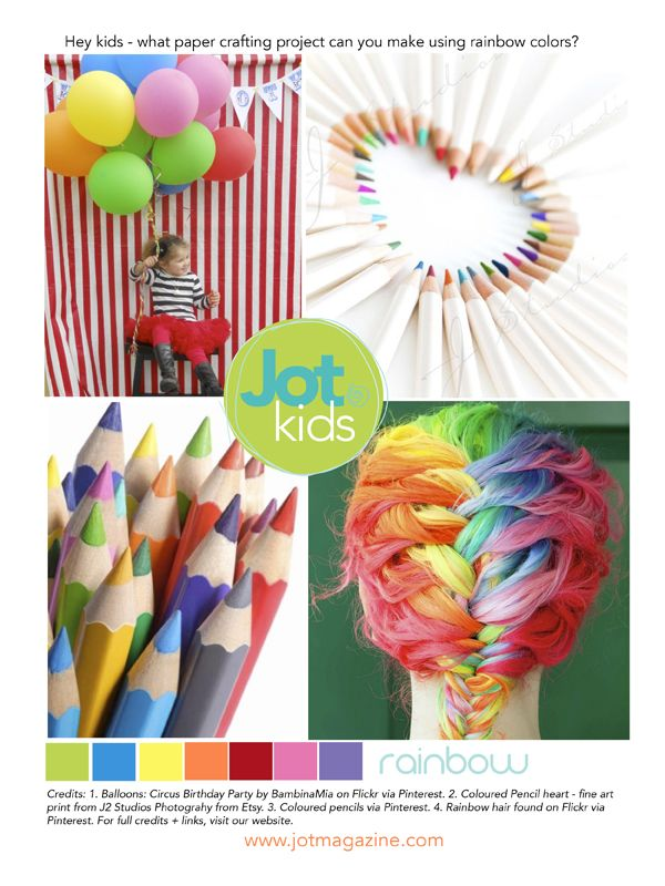 Our very first Jot Kids Mood Board challenge - created by Jot Girl Lauren Hender. Lots of rainbow colours!