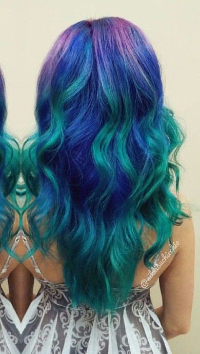 Blue Green dyed hair color