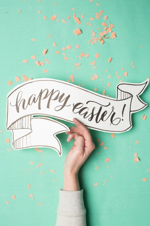 FREE printable happy easter calligraphy sign