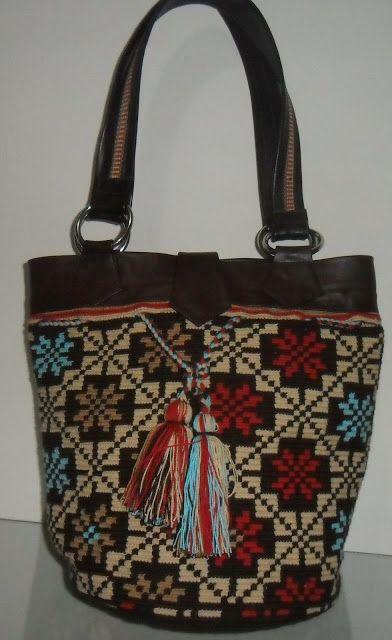 Arte Guajiro - Mochilas Wayuu, artesanias de Colombia: Mochilas wayuu con cuero