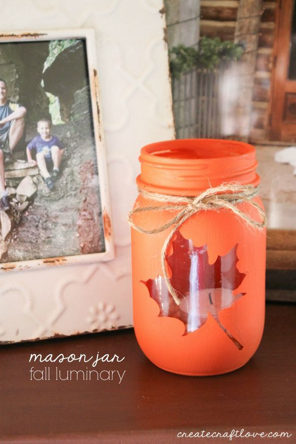 Cute and easy Mason Jar Fall Luminary - tutorial at createcraftlove.com!: