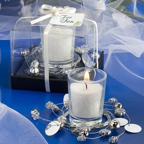 silver wreath around candles