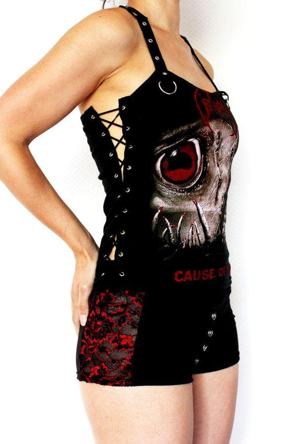 Obituary shirt thrash metal tank lace up top by kittyvampdesigns