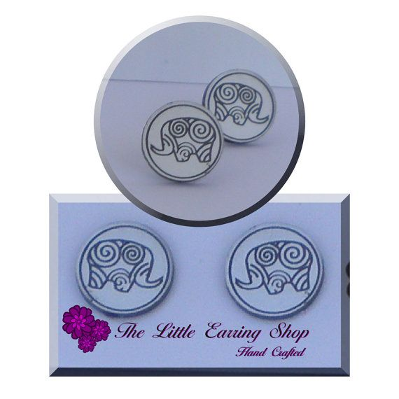 Happy Elephant Earrings, Cute as a Button, on Quality Hypoallergenic Posts