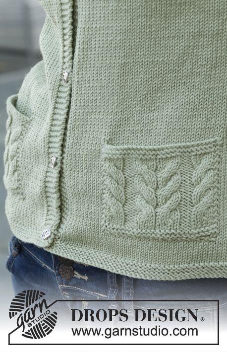 Gebreid DROPS vest met kabel zakken van Merino Extra Fine of Belle. Maat: S - XXXL Gratis patronen van DROPS Design.