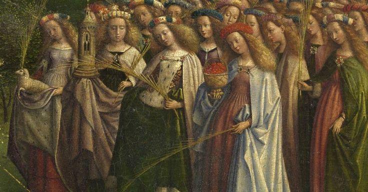 Девы-святые мученицы, каждая со своим традиционным атрибутом.  Процессию дев возглавляют святая Агнесса с ягненком, святая Варвара с башней (мы про нее уже знаем, видели ее у Кампена), святая Катерина и святая Доротея с розами.