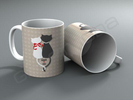 Aşık Kediler tasarımlı isim yazdırılabilen kişiye özel kupa bardak