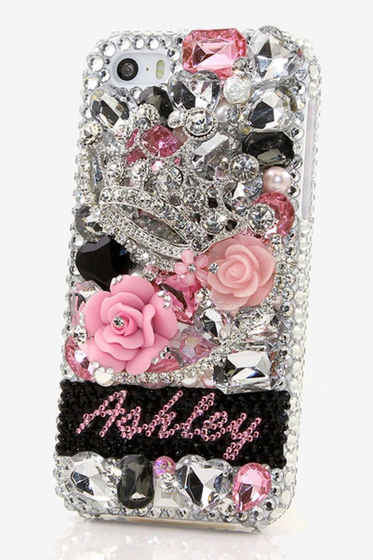 Silver Crown crystals Personalized Name & Initials Design bling case cover made for iPhone 5, iPhone 5s, iPhone 5c http://luxaddiction.com/collections/personallized-designs/products/silver-crown-personalized-name-initials-design-style-pn_1053