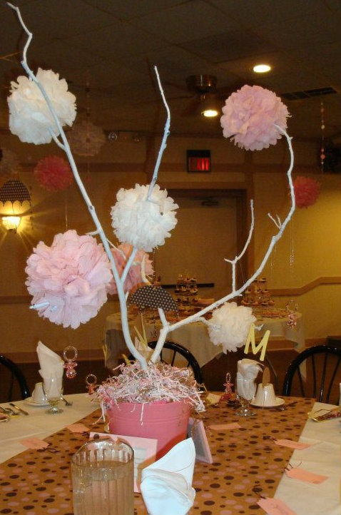 Wish tree pink brown white centerpiece baby shower