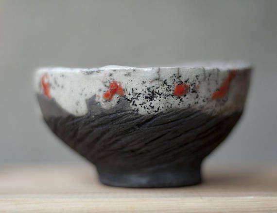 Ceramic chawan tea cup handmade raku unique white red