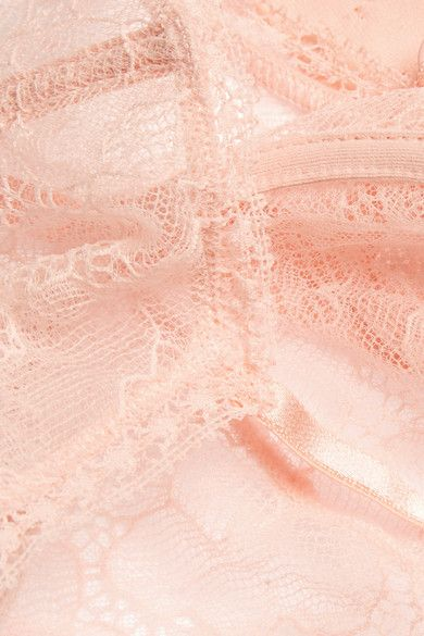 Eres - Enchantée Popeline Stretch-leavers Lace Balconette Bra - Pastel pink