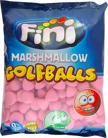 A bulk bag of Fini Marshmallow Golf Balls Pink.