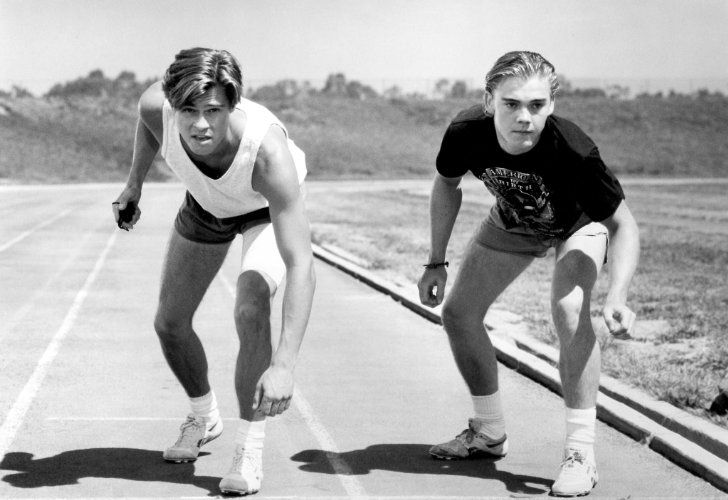 Brad Pitt and Ricky Schroder in Across the Tracks (1990)