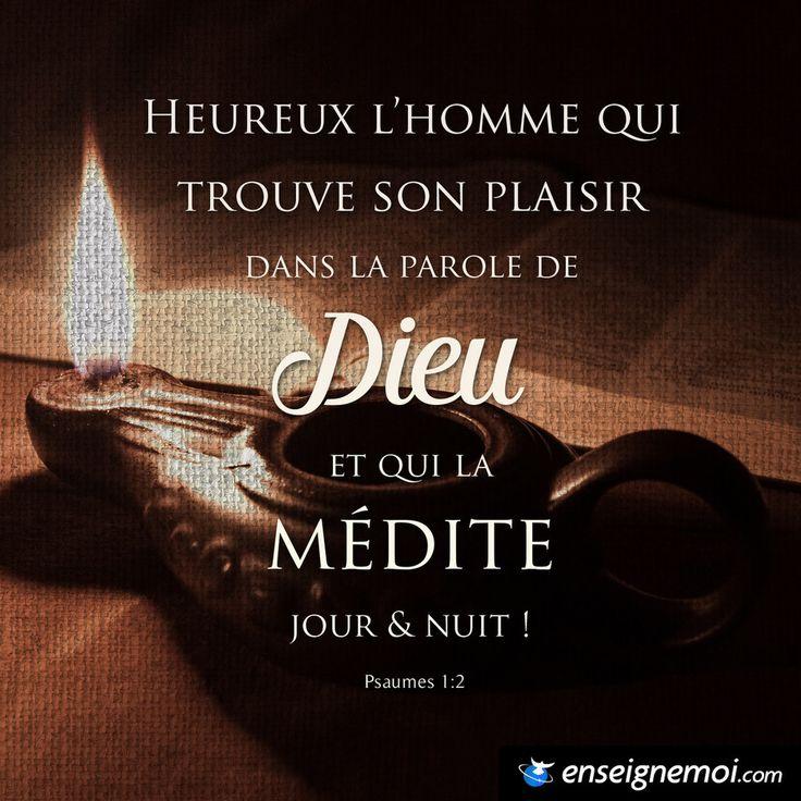 Psaumes 1:2 « Heureux l'homme qui trouve son plaisir dans la loi de l'Eternel, et qui la médite jour et nuit »
